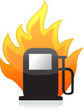Gas pump on fire illustration design Stock Images