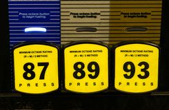 Gas pump grades. Gas prices and different grades Royalty Free Stock Images