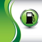 Gas pump on green vertical wave background