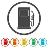 Gas pump icon, Gasoline and diesel fuel symbol, 6 Colors Included. Simple vector icons set royalty free illustration