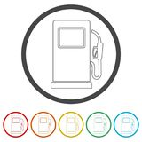 Gas pump icon, Gasoline and diesel fuel symbol, 6 Colors Included. Simple vector icons set stock illustration