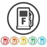 Gas pump icon, Gasoline and diesel fuel symbol, 6 Colors Included. Simple vector icons set vector illustration