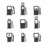 Gas pump icons. Gas, gasoline, fuel pump icons Stock Photos