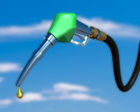 Gas Pump nozzle. 3d illustration of gas pump nozzle on cloudy sky Royalty Free Stock Images