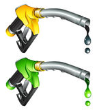 Gas pump nozzle. Yellow and green gas pump nozzle Stock Photo