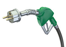 Gas pump nozzle with electric plug Stock Image