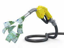 Gas pump nozzle and euro on white background Royalty Free Stock Images