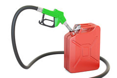 Gas pump nozzle with jerrycan, 3D rendering Royalty Free Stock Photos