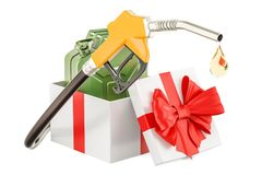 Gas pump nozzle with jerrycan inside gift box, gift concept. 3D. Rendering isolated on white background Stock Photo