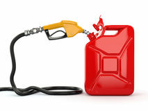 Gas pump nozzle and jerrycan on white background Stock Photo