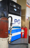 Gas pump nozzle at LPG station Stock Photography