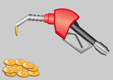 Gas pump nozzle and money Stock Image