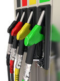 Gas pump nozzles. 3d illustration Gas pump nozzles of colorful Stock Photography