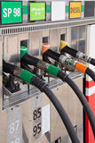 Gas pump nozzles Royalty Free Stock Images