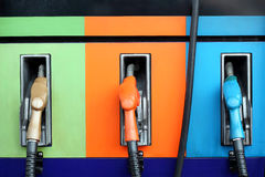 Gas pump nozzles Royalty Free Stock Photography