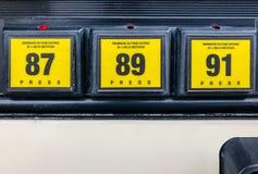 Gas Pump Octane Rating Selector. Close up shot of gas pump octane rating with 87 grade selected. 87 Octane, 89 Octane and Premium 91 Octane bright yellow gas Stock Photos