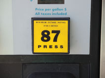 Gas Pump 87 Octane Selection Button. Close up view of a bright yellow 87 octane Stock Photos