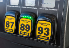 Gas pump octane selector. Close up detail of octane rating selector in gas pump Stock Photo