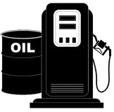 Gas pump and oil barrel Stock Photo