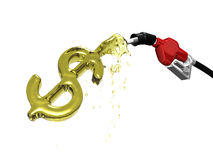 Gas pump over filling a dollar sign. 3D Stock Images