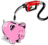 Gas pump and piggy bank. Vector art of a Royalty Free Stock Photography