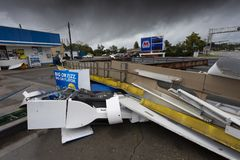 Gas pump and island cover taken out by Hurricane Florence. Gas pump and roof in Raeford North Carolina taken down by Hurricane Florence stock photography