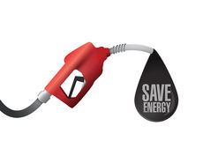 Gas pump and save energy message Stock Photo