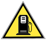 Gas pump sign. Yellow triangle gas pump caution sign - vector Stock Image