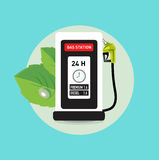 Gas pump station icon with green leaves green energy concept Stock Photo