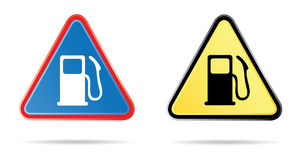 Gas pump triangular road sign Stock Images