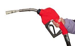 Gas-Pumpe mit hundert Dollarschein auf Weiß Stockfotografie