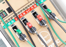 Gas pumps at filling machine Stock Images