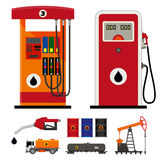 Gas pumps and flat oil industry icons Stock Photos
