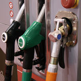 Gas pumps in row Royalty Free Stock Photography