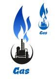Gas que procesa la silueta negra con la llama azul libre illustration