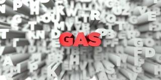GAS - Röd text på typografibakgrund - 3D framförde fri materielbild för royalty Vektor Illustrationer