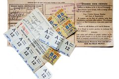 Gas Ration Coupons. Will it come to this again?  Gas ration coupons from the 1930's-1940's.  (On the form these were for a 1939 Ford Stock Photos