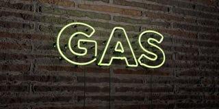 GAS - realistiskt neontecken på bakgrund för tegelstenvägg - 3D framförd fri materielbild för royalty Arkivfoton