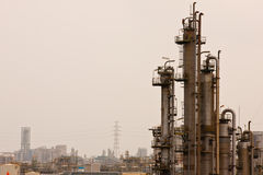 Gas refineries plants. Gas refineries tower in factory Stock Image