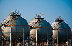 Gas refinery. Storage by day Royalty Free Stock Photo