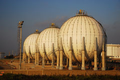 Gas Refinery, fuel tank Stock Photos