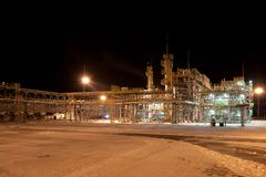 Gas Refinery plant. Night view. Nobobdy. Stock Images