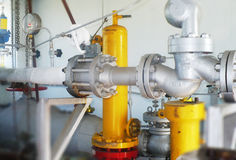 Gas regulation system shut-off valve for gas, regulator and pres Stock Photography