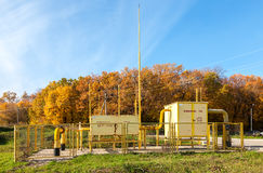 Gas regulatory and distribution point near the apartment house Royalty Free Stock Photo