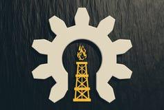 Gas rig in half gear icon Stock Photos