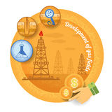 Gas rig with icon of process of gas production Royalty Free Stock Photography