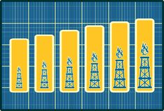 Gas rig icons on blueprint chart diagram. Consumption growth Stock Image