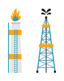 Gas rig station and oil recovery platform flat icon vector illustration. Royalty Free Stock Photos