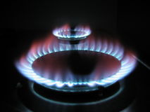 Gas ring. Burning gas cooker rings Stock Photo
