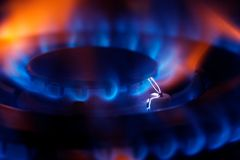 Gas Ring. A macro photo of a gas hob with blue and orange flame royalty free stock photo